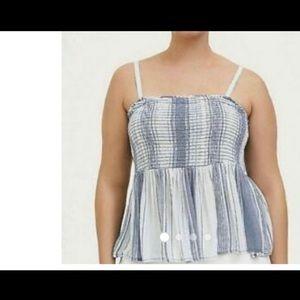 Blue striped gauze babydoll top